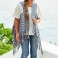 Cotton vest, 'Chiapas Chic' - Hand Woven Black and White Cotton Vest