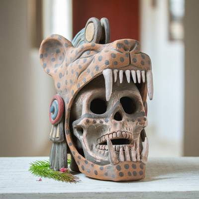 Ceramic sculpture, 'Aztec Jaguar Warrior' - Ceramic Skull depicting an Aztec Jaguar Warrior