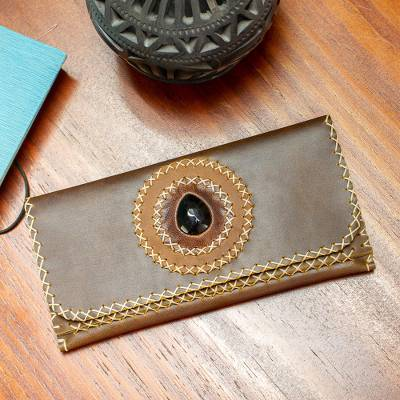 Long leather wallet with obsidian accent, 'Bajio Beauty' - Long Brown Leather Women's Wallet with Obsidian