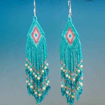 Glass beaded waterfall earrings, Turquoise Cascade