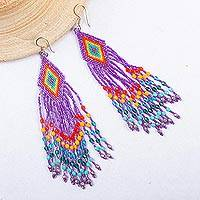 Glass beaded waterfall earrings, 'Huichol Violet Cascade' - Huichol Handcrafted Violet Beadwork Waterfall Earrings