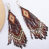Glass beaded waterfall earrings, 'Espresso Brown Cascade' - Huichol Handcrafted Espresso Brown Beadwork Earrings