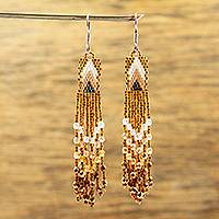 Glass beaded waterfall earrings, 'Honey Arrowheads' - Huichol Honey Brown-Ivory-White Beadwork Waterfall Earrings