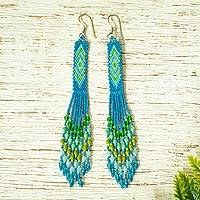 Glass beaded waterfall earrings, 'Blue Diamond Talisman' - Handcrafted Peacock Blue Beadwork Huichol Waterfall Earrings