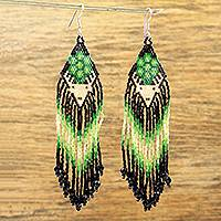 Glass beaded waterfall earrings, 'Green Jicuri Deer' - Huichol Beadwork Long White Deer & Green Jicuri Earrings