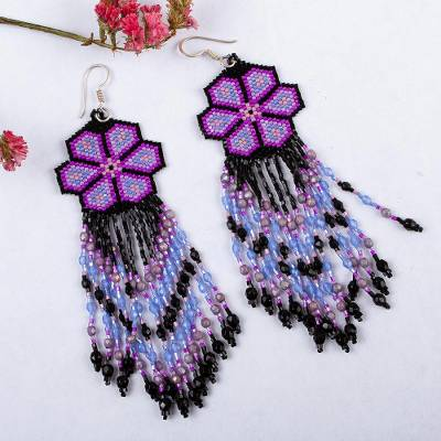 Glass beaded waterfall earrings, Purple Jikuri