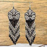 Glass beaded waterfall earrings, 'White Huichol Blossom' - Huichol Beadwork Floral Earrings in Black-White-Grey