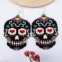 Glass beaded dangle earrings, 'Black Skeleton' - Beadwork Day of the Dead Black Skull Huichol Earrings