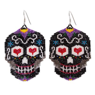 Beadwork Day of the Dead Black Skull Huichol Earrings