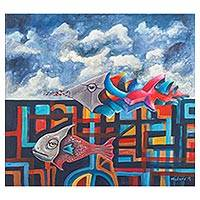 'Paul's Fish' - Original Signed Surrealist Fish in the Sky Painting