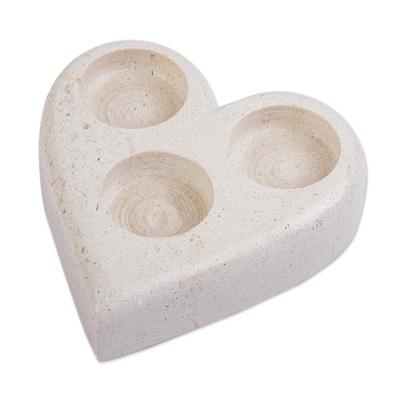 White Marble Heart Candleholder for 3 Tealights