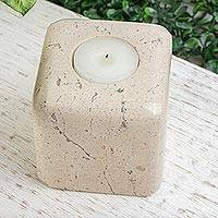 Marble tealight holder, 'Light the Night' - Natural Beige Marble Cube Tealight Candle Holder