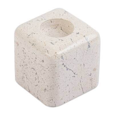 Natural Beige Marble Cube Tealight Candle Holder
