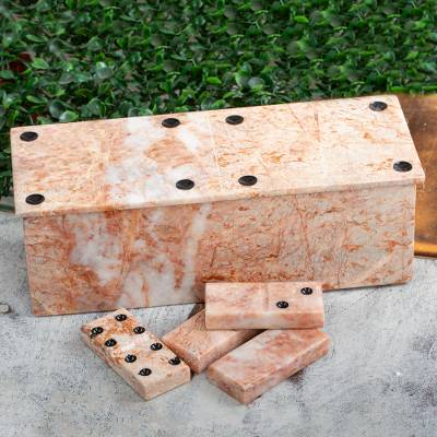 Marble domino set, 'Victorious Chance' (9 inch) - 28 Piece Rose Marble Domino Set with Storage Box (9 inch)