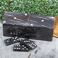 Marble domino set, 'Fascinating Challenge' (9 inch) - Dark Grey Marble Domino Set with Storage Box (9 Inch)