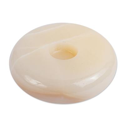 Onyx tealight candleholder, 'Creamy Modern Beauty' - Ivory Onyx Circular Tealights Candleholder from Mexico