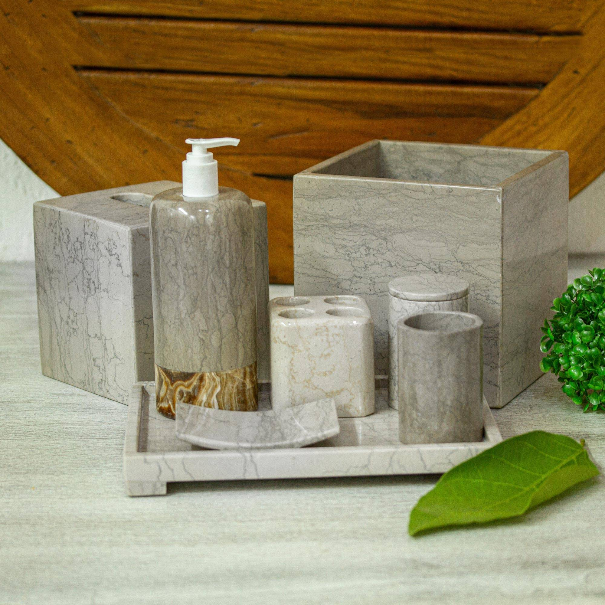 Marble And Onyx Stone Bathe Accessory Set 8 Pieces Patrician Novica