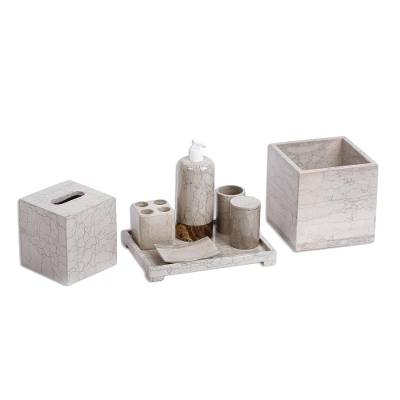 Marble and Onyx Stone Bathe Accessory Set (8 Pieces)