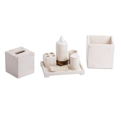 Artisan Crafted Marble Bath Accessory Set (8 Pieces)