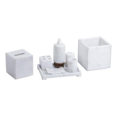 Natural White Marble and Onyx Bath Set (8 Pieces)