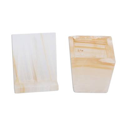 Onyx desk set, 'Cream and Honey' - Natural Cream Onyx Desk Set Hand Crafted in Mexico