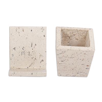 Marble desk set, 'Travertine' - Travertine Marble Desk Accessory Set