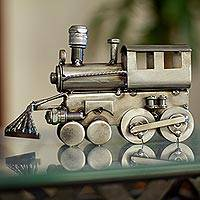 Auto part sculpture, 'Rustic Locomotive' (7 inch) - Rustic Locomotive Recycled Metal Sculpture