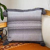Zapotec cotton cushion cover, 'Rich Grey Textures' - Handwoven Grey Cotton Zapotec Cushion Cover