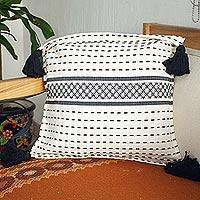 Zapotec cotton cushion cover, 'Tlacolula Black'