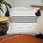 Handwoven Black and Ivory Cotton Zapotec Cushion Cover, 'Tlacolula Black'
