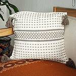 Handwoven Brown and Ivory Cotton Zapotec Cushion Cover, 'Tlacolula Brown'