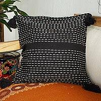 Zapotec cotton cushion cover, 'Midnight in Dainzu' - Zapotec Handwoven Black Cotton Cushion Cover