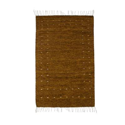 Brown and Gold Hand Loomed Wool Area Rug (2.5x3)