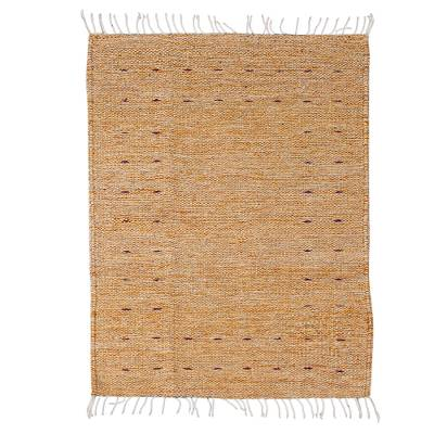 Hand Loomed All Wool Area Rug in Gold (2x3.25)