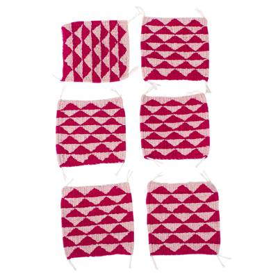 Set of 6 Hand Loomed Wool Coasters in Fuchsia and Pink