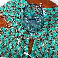 Wool coasters, 'Zapotec Diamond in Sea Green' (set of 6) - Green and Grey Hand Woven Wool Coasters (Set of 6)