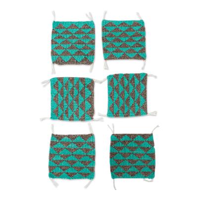 Wool coasters, 'Zapotec Diamond in Sea Green' (set of 6) - Green and Grey Hand Woven Wool Coasters (Set of 6)