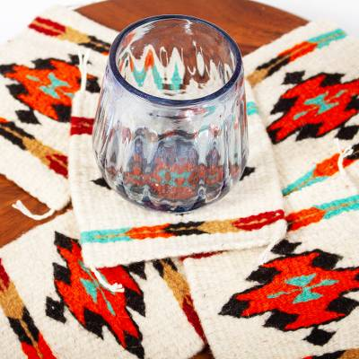 Wool coasters, 'Zapotec Diamond' (set of 6) - Multicolored Zapotec Style Woven Wool Coasters (Set of 6)