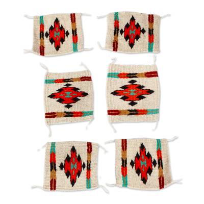Multicolored Zapotec Style Woven Wool Coasters (Set of 6)