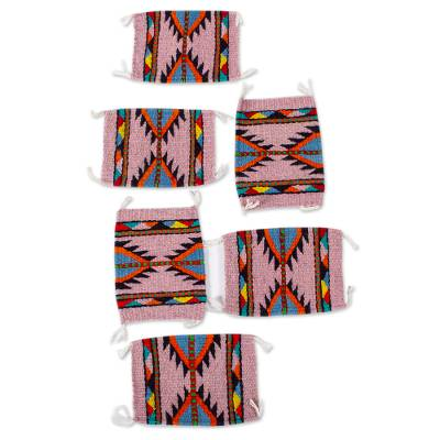 Artisan Crafted Zapotec Style Wool Coasters (Set of 6)
