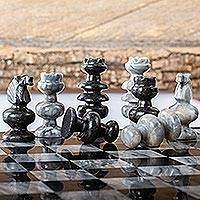 Marble and obsidian chess pieces, 'Sophisticate'