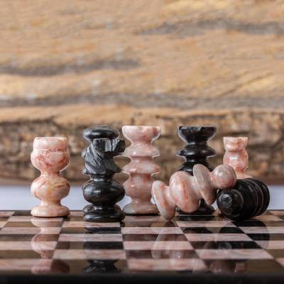 Marble chess pieces, 'Black and Pink Challenge' - Petite Mexican Black and Rose Marble Chess Pieces Set