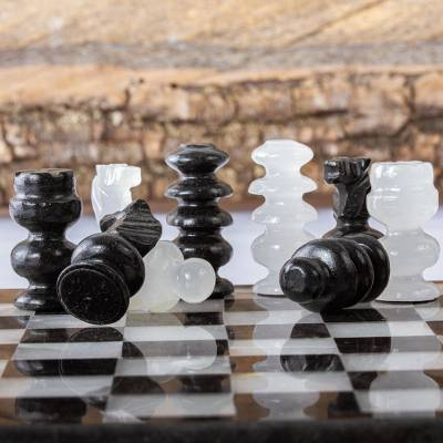 Marble chess pieces, 'Black and White Challenge' - Petite Mexican Black Obsidian-White Marble Chess Pieces Set