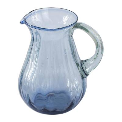 Fluted Blue Recycled hand Blown Glass Pitcher