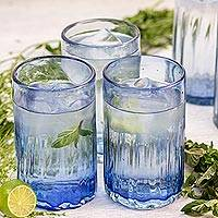 Hand blown glass tumblers, 'Fiesta Azul' (set of 6) - Fluted Blue Hand Blown Tumbler Glasses (Set of 6)