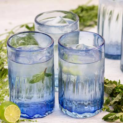 Hand blown glass tumblers, 'Denim Blue' (set of 6) - Fluted Blue Hand Blown Tumbler Glasses (Set of 6)