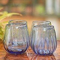 Hand blown stemless red wine glasses, 'Fiesta Azul' (set of 6) - Hand Blown Blue Stemless Red Wine Glasses (Set of 6)