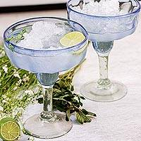 Hand blown margarita glasses, 'Fiesta Azul' (set of 6) - Blue Margarita Glasses Hand Blown in Mexico (Set of 6)