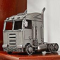 Recycled auto parts sculpture, 'Rustic Truck' - Eco-Friendly Recycled Metal Semi Truck Sculpture