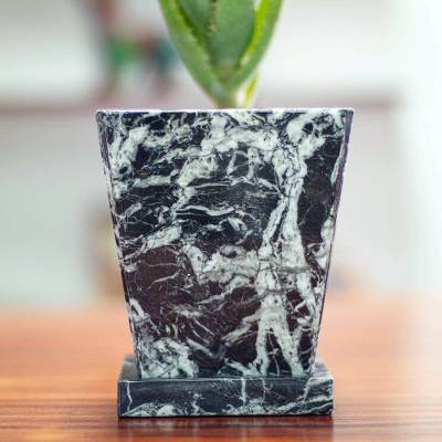 Marble flower pot, 'Black and White Contempo' - Modern Natural Black and White Marble Flower Pot